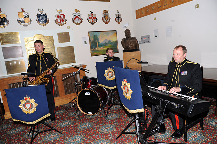 The Band of the Royal Logistic Core entertaining guests during dinner